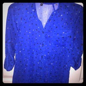 Nwot Express Royal Blue Sheer Button up